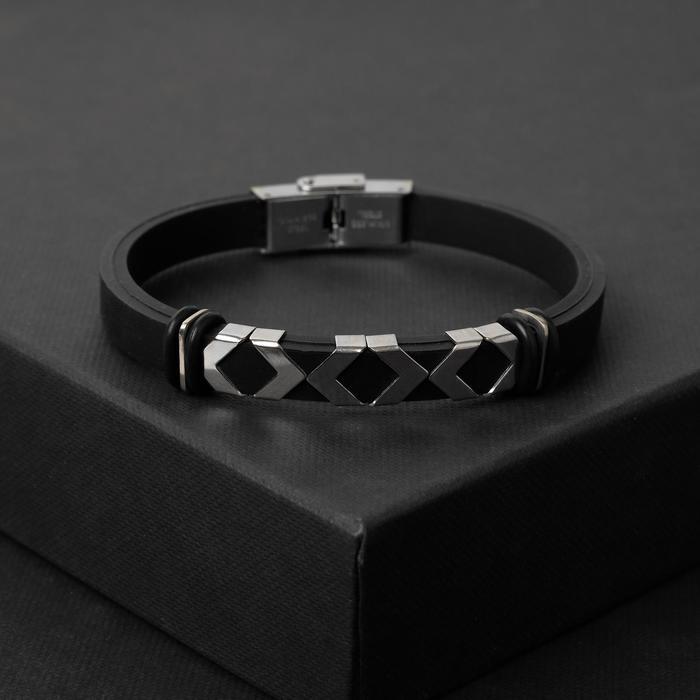 """Браслет мужской """"Мощь"""" геометрия, цвет чёрный в серебре"""