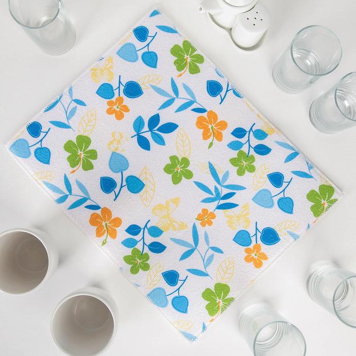 Салфетка для сушки посуды Доляна «Полевые цветочки», 30×40 см, микрофибра