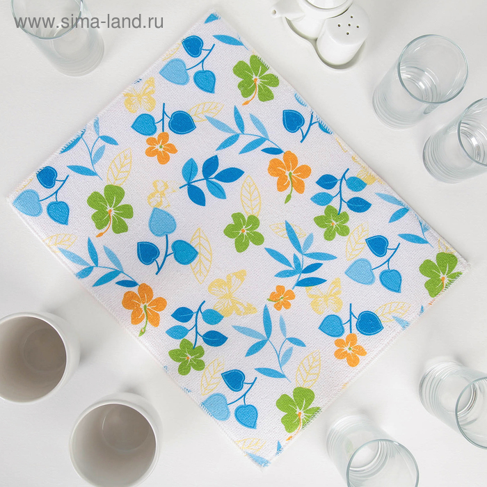 """Mat for drying dishes 30x40 cm """"wild flowers"""", blue color"""