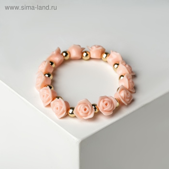 """Браслет пластик """"Цветы"""" розы, цвет кораллово-золотой"""
