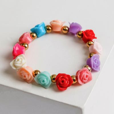 """Bracelet plastic """"Flowers"""" roses, color"""