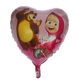 """Шар фольгированный 18"""" «Маша и Медведь», сердце"""