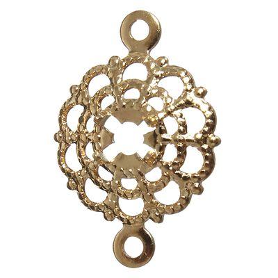 Рамка для кабошона, 15*12 мм (внутр. 4 мм), круглая, кружевной цветочек, позолоченный