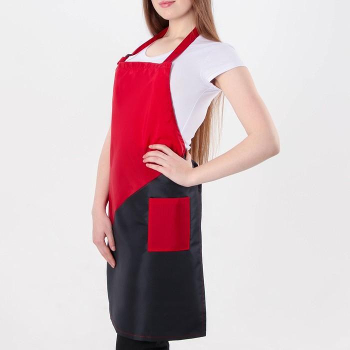 Фартук для мастера, 56 × 77 см, цвет чёрный/красный