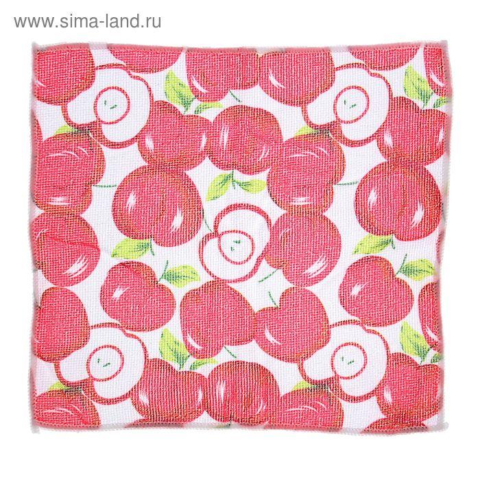 """Салфетка для уборки 30х30 см """"Красные яблоки"""""""