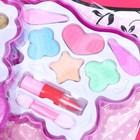 Набор косметики для девочки «Двойная бабочка»: тени, тени с блёстками, помада, аппликаторы - фото 106546902