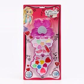 Набор косметики для девочки с зеркалом «Бабочка»: тени, аппликаторы, блески
