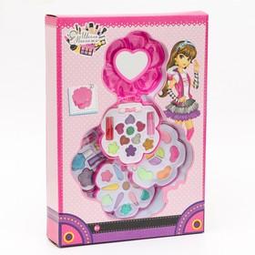 Набор косметики для девочки «Цветок»: тени, тени с блёстками, аппликаторы, помады, лак
