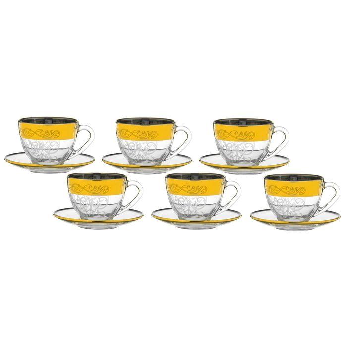 """Набор чайный """"Вдохновение"""": 6 чашек 200 мл, 6 блюдец d=13,2 см"""