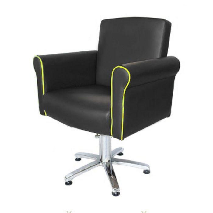 """Парикмахерское кресло """"Престиж"""", гидравлический подъемник, пятилучье хром, цвет чёрный, кант фисташковый"""