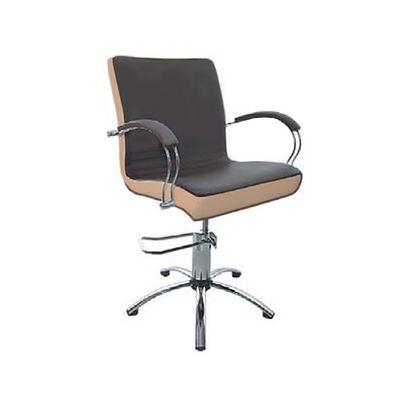 """Парикмахерское кресло """"Касатка"""", гидравлический подъемник, пятилучье хром, цвет коричневый, кант слоновая кость"""