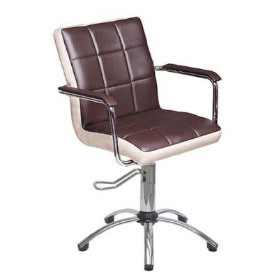 """Парикмахерское кресло """"Лего"""", гидравлический подъемник, пятилучье хром, цвет коричневый, кант слоновая кость"""