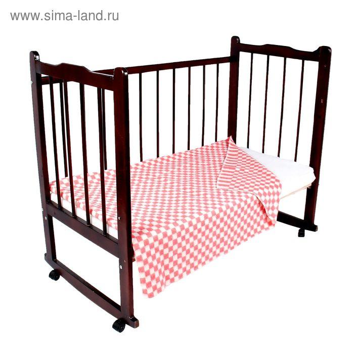 """Одеяло байковое детское хлопчатобумажное """"Ермошка"""", цвет розовый, клетка, размер 112х90 см, 470 г/м2, принт микс"""