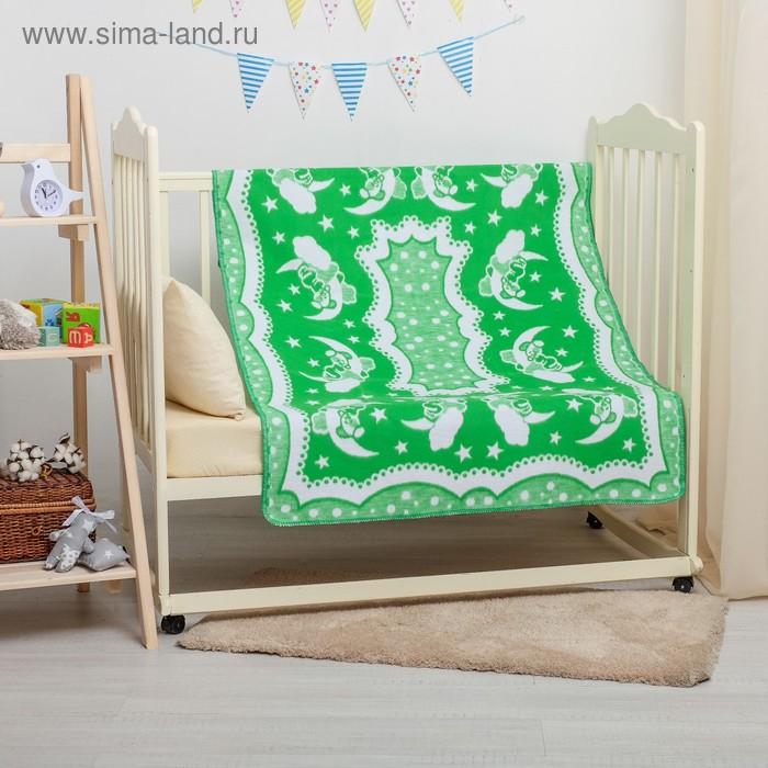 """Одеяло байковое детское хлопчатобумажное """"Ермошка"""", цвет зелёный, жаккард, размер 140х100 см, 470 г/м2, принт микс"""