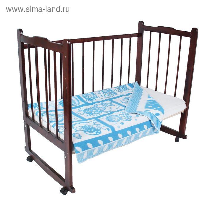 """Одеяло байковое детское хлопчатобумажное """"Ермошка"""", цвет синий, жаккард, размер 140х100 см, 470 г/м2, принт микс"""