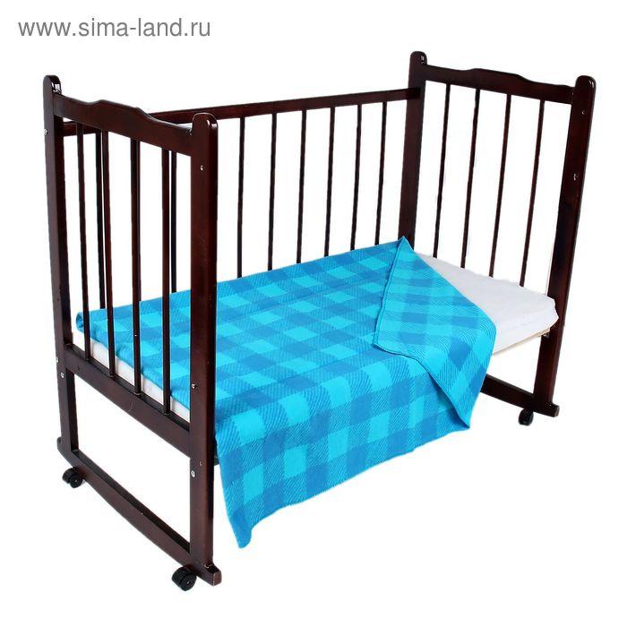 """Одеяло байковое детское хлопчатобумажное """"Ермошка"""", цвет голубой, клетка, размер 140х100 см, 470 г/м2, принт микс"""