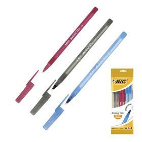 Ручка шариковая, синяя, чёрная, красная, среднее письмо, BIC Round Stic Classic