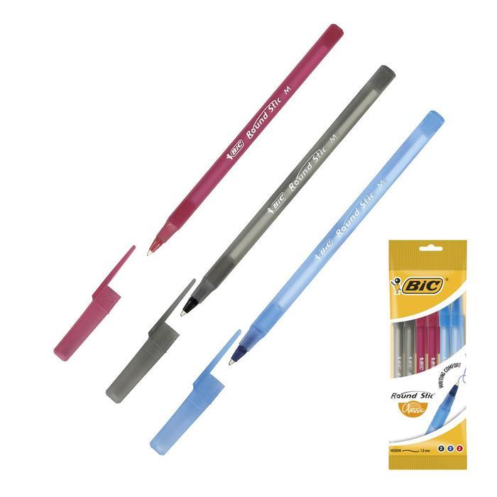 Набор ручек шариковых микс 3 цвета*6 штук BIC Round Stic Classic (синий, черный, красный) 1.0мм