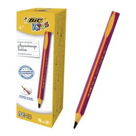 Карандаш чернографитный, обучающий письму, HB, розовый корпус, BIC Kids Evolution