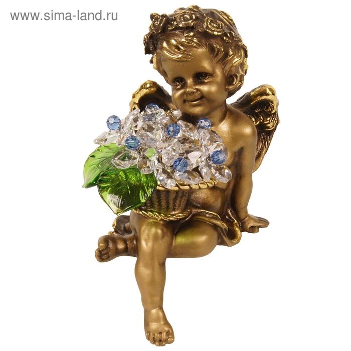 """Статуэтка """"Ангел с корзиной хрустальных цветов"""", CR lb"""