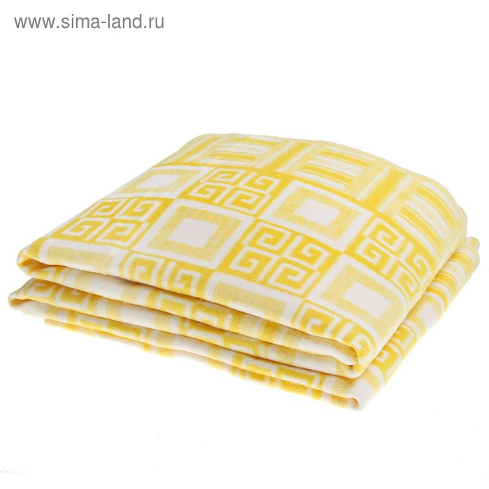 Одеяло байковое хлопчатобумажное, цвет жёлтый, жаккард, размер 212х150 см, 470 г/м2, принт микс