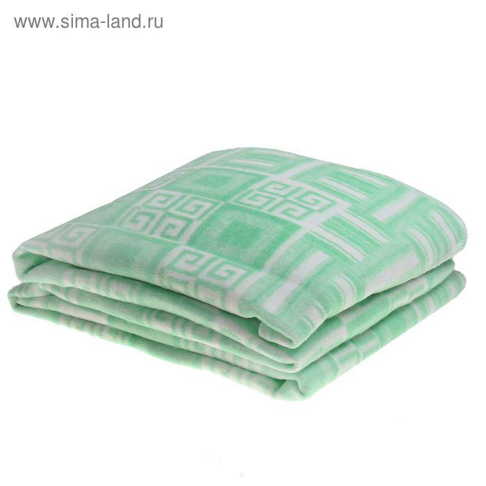Одеяло байковое, цвет зелёный, жаккард, размер 212х150 см, 470 г/м2, принт микс