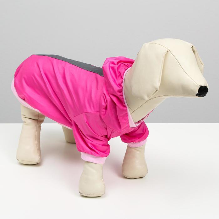 Куртка-ветровка со светоотражающими полосками, размер M (ДС 25 см, ОГ 37 см), розовая