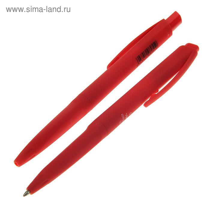 Ручка шариковая авт 0,7мм Vinson Элеганс корпус прорезиненный красный стержень масляный красный 1503