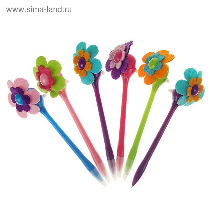 Ручка шариковая-прикол Цветок крутящийся с заводным механизмом МИКС