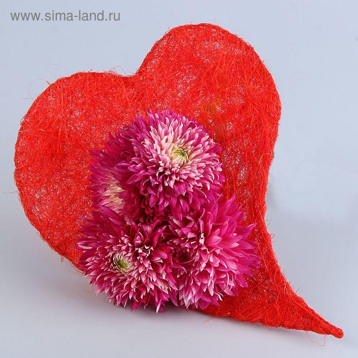 """Каркас для букета """"Сердце"""" 33 см, сизаль, красный"""