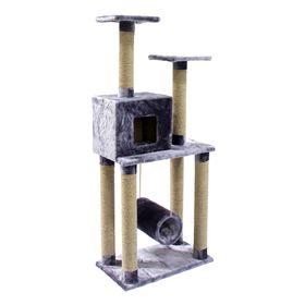 Комплекс с когтеточками, домиком и качающейся трубой,  70 х 40 х 170 см МИКС ЦВЕТОВ