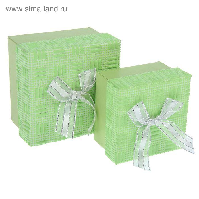 Набор коробок 2в1 квадрат фактурный (9*9*6/7,5*7,5*5 см), салатовый