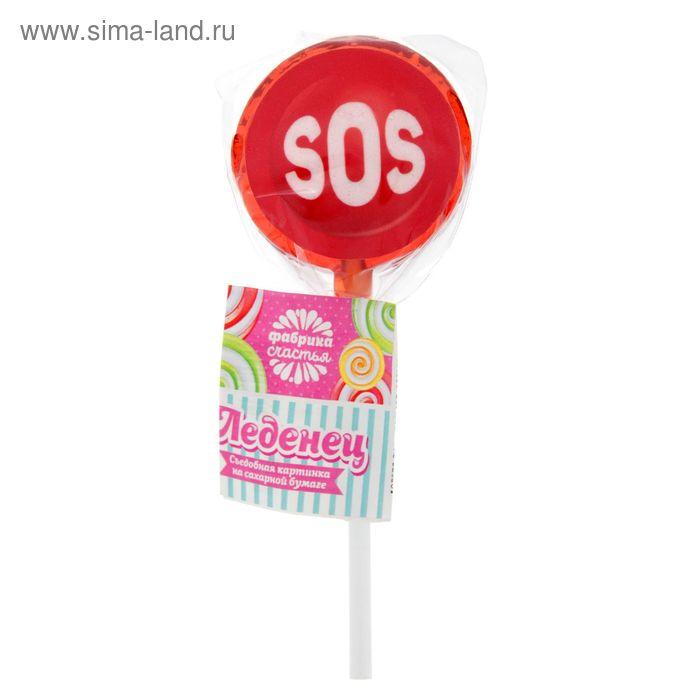 Леденец с сахарной бумагой «SOS», клубника