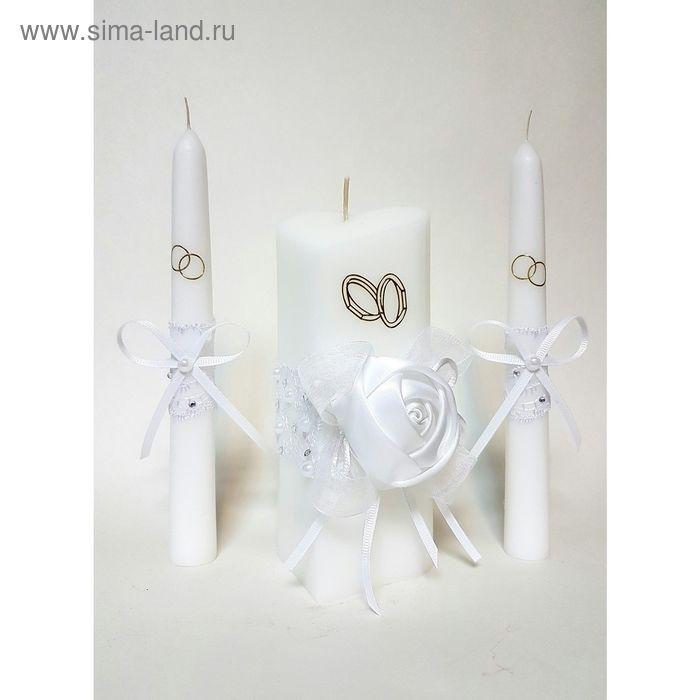 """Набор свечей """"Атласная роза"""", белый : Домашний очаг 6.8х15см, Родительские свечи 1.8х17.5см   162423"""