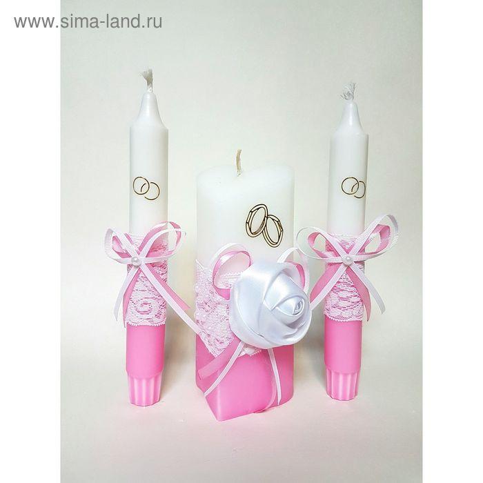 """Набор свечей """"Атласная роза"""", розовый : Домашний очаг 6.8х15см, Родительские свечи 1.8х17.5см   1624"""