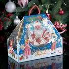 "Подарочная коробка ""Новогодний привет"", шапка-невидимка, синий, сборная, 21,5 х 11 х 19 см"