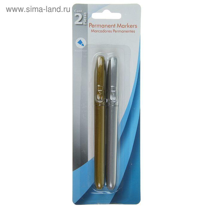 Набор маркеров перманентных 2шт. наконечник круглый 3 мм на блистере (золото, серебро)