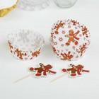 """Украшение для кексов """"Новый год"""" со снежинками, набор 24 пики, 24 формочки"""