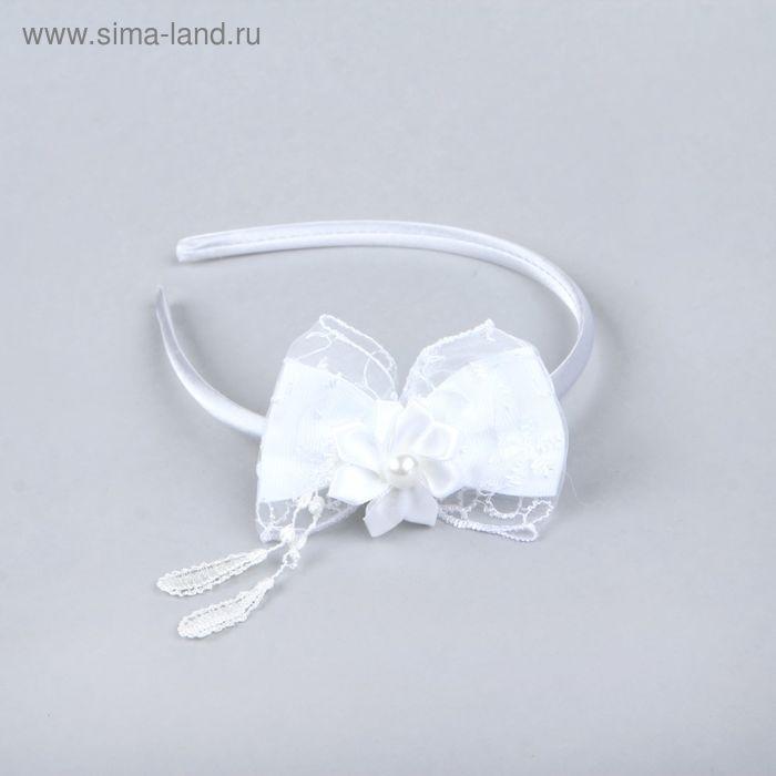 """Ободок для волос """"Принцесса"""" цветок и бант, белый"""