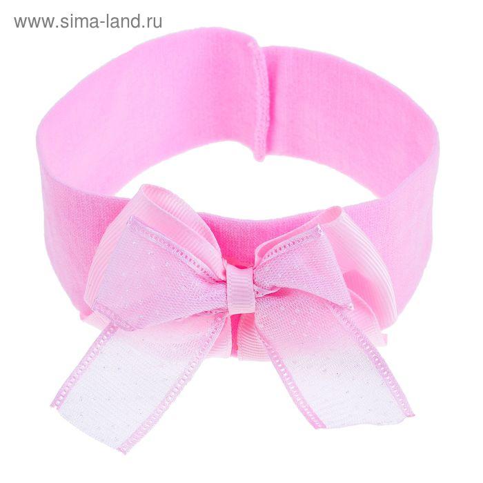 "Повязка для волос ""Краса"", бант, блёстка, розовая"