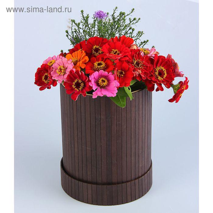 "Коробка подарочная ""Шляпная"", бамбук, коричневая, 20 х 25 см"