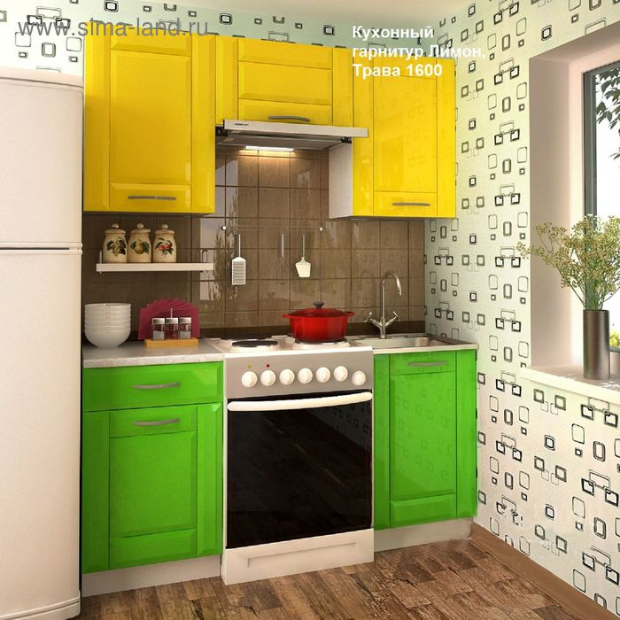 Кухонный гарнитур, 1600 мм, цвет Лимон/Трава