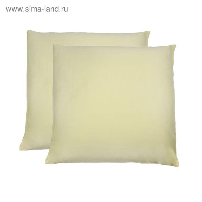 Наволочки трикотажные на молнии, размер 50х70 см-2 шт., цвет нежно-жёлтый