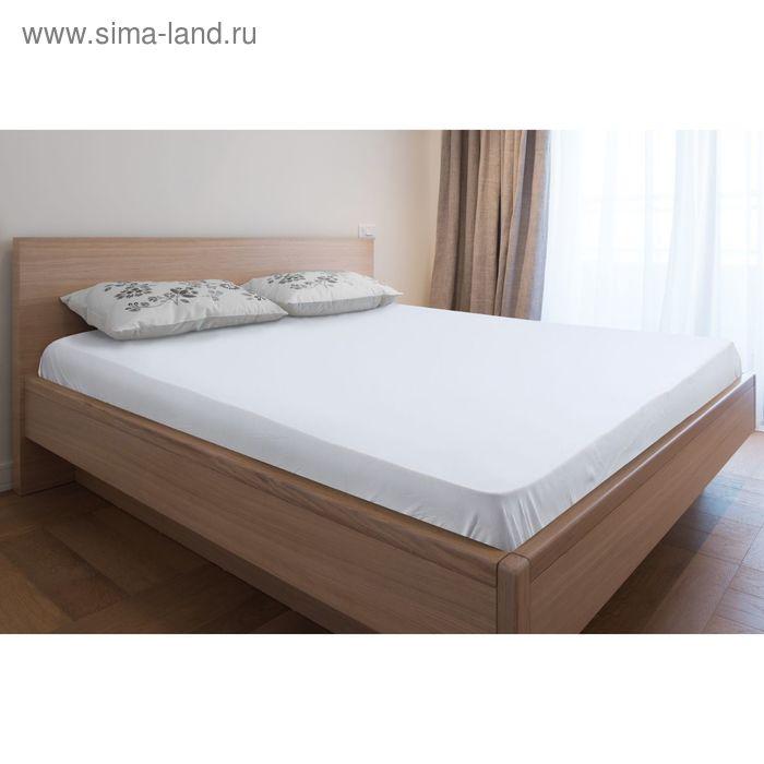 Простыня трикотажная на резинке белая, размер 160х200/20 см