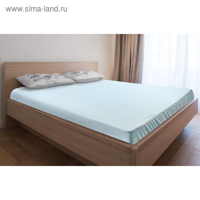 Простыня трикотажная на резинке голубая, размер 160х200/20 см