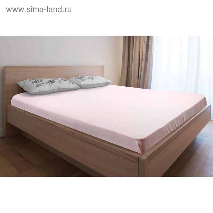 Простыня трикотажная на резинке розовая, размер 160х200/20 см