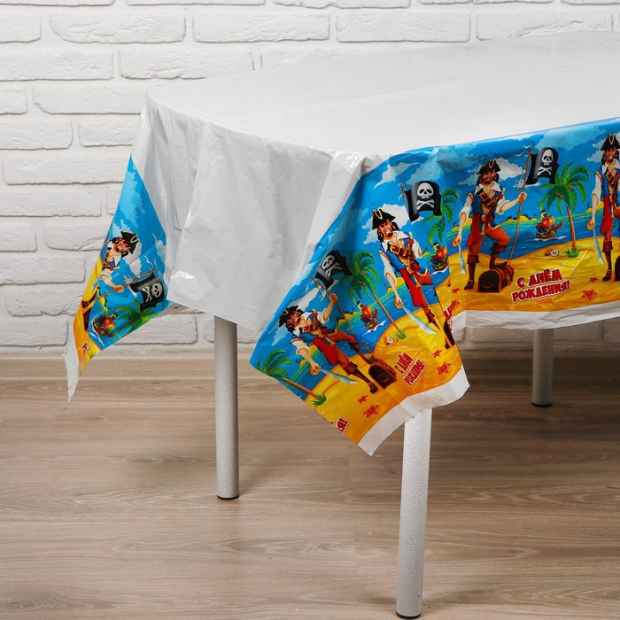 """Tablecloth """"happy Birthday"""", is a pirate, 180 x 137 cm"""