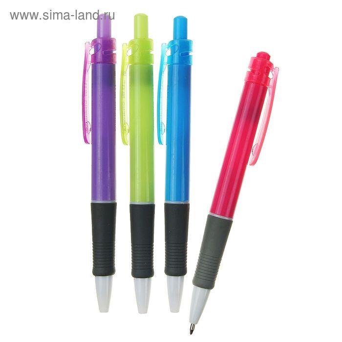Ручка шариковая авт 0,8мм Офис корпус МИКС с резиновым держателем стержень синий