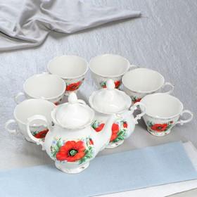 "Сервиз чайный ""Камелия"" незабудка, 8 предметов: чашки 250 мл, сахарница 480 мл, чайник 600 мл, микс"
