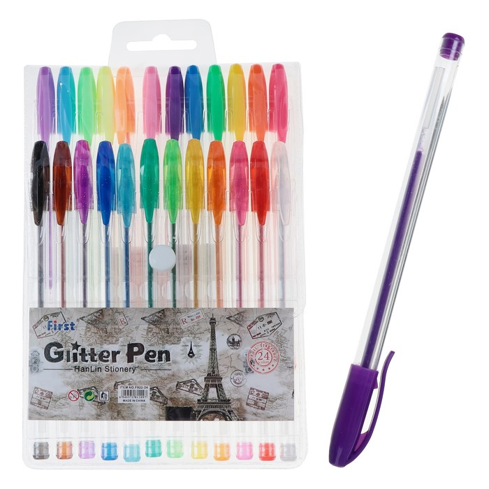 Набор гелевых ручек, 24 цветов, флуоресцентные, с блёстками, в блистере